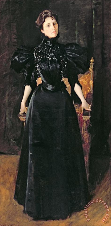 William Merritt Chase Portrait of a Lady in Black Art Print