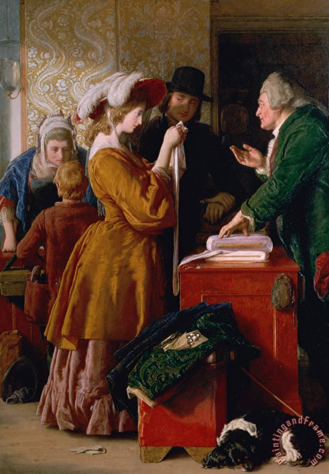 Choosing the Wedding Gown from chapter 1 of 'The Vicar of Wakefield' painting - William Mulready Choosing the Wedding Gown from chapter 1 of 'The Vicar of Wakefield' Art Print