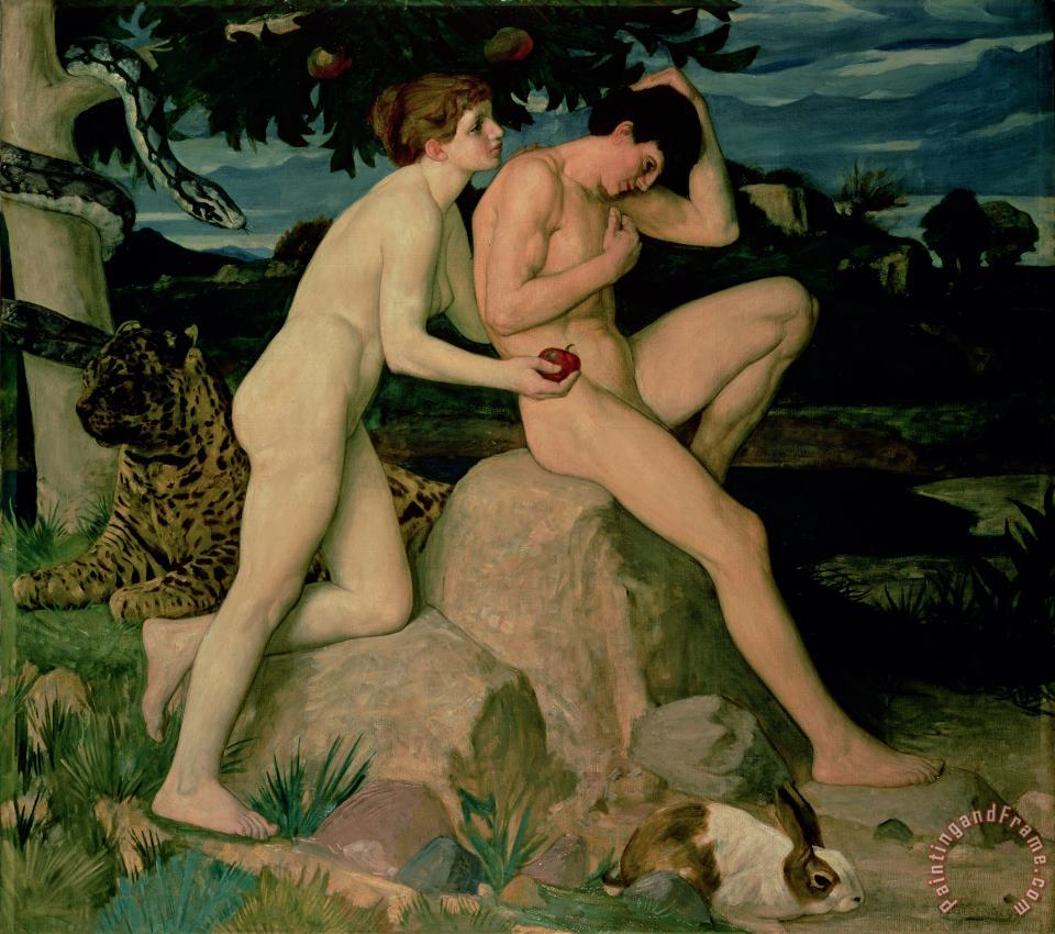 Adam and Eve painting - William Strang Adam and Eve Art Print