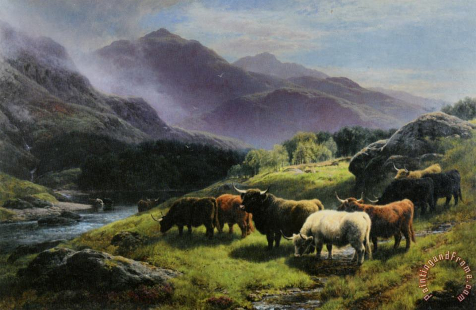 William Watson Highland Cattle Grazing by a Mountain Stream Art Print