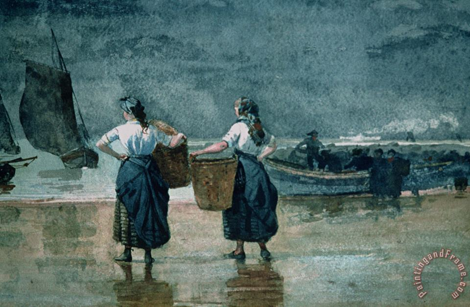 Fisher Girls by the Sea painting - Winslow Homer Fisher Girls by the Sea Art Print
