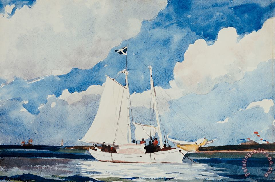Winslow Homer Fishing Schooner in Nassau Art Print