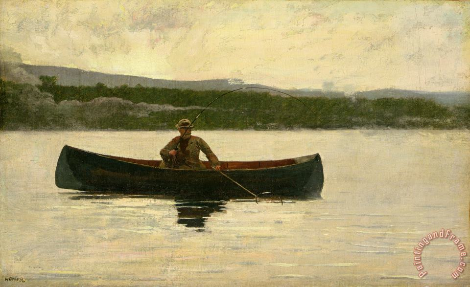 Playing a Fish painting - Winslow Homer Playing a Fish Art Print