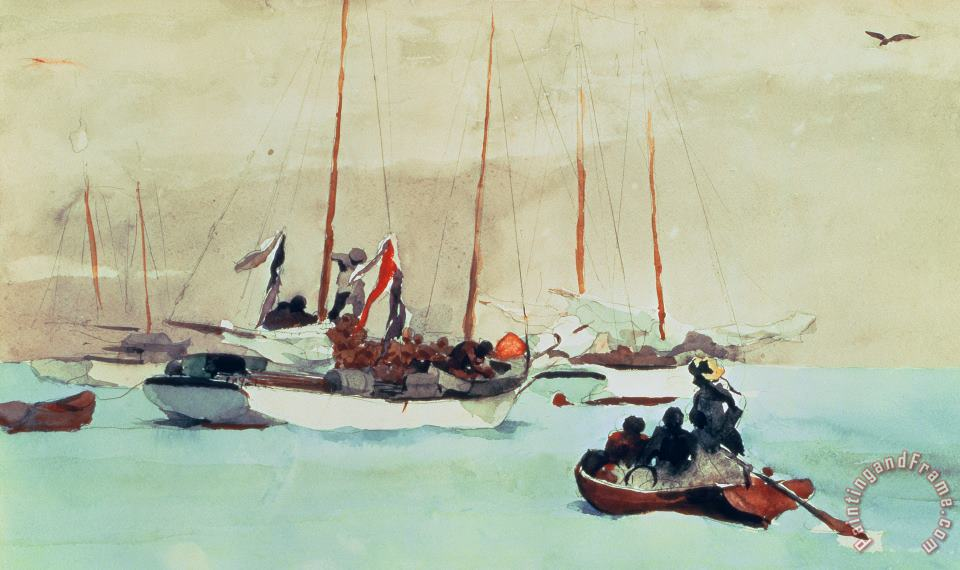 Schooners at Anchor in Key West painting - Winslow Homer Schooners at Anchor in Key West Art Print