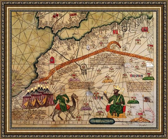 Abraham Cresques Catalan Map of Europe and North Africa Charles V of France in 1381 Framed Painting