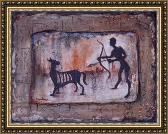 Agris Rautins Hunter of the Stone Age Framed Painting