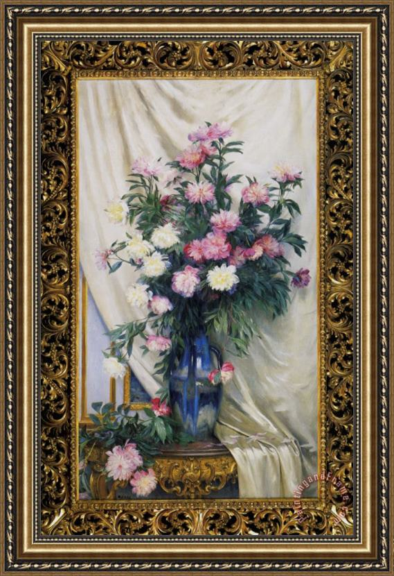 Albert Aublet Peonies in a Blue Vase on a Draped Regency Giltwood Console Table Framed Painting