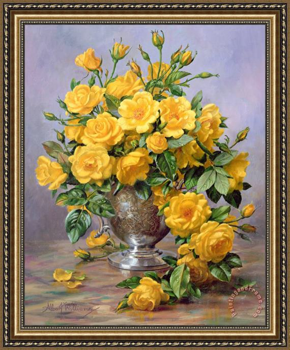 Albert Williams Bright Smile - Roses in a Silver Vase Framed Painting