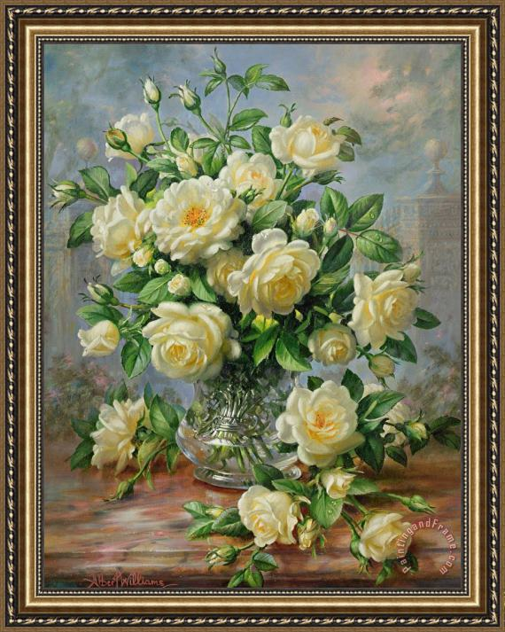 Albert Williams Princess Diana Roses in a Cut Glass Vase Framed Print