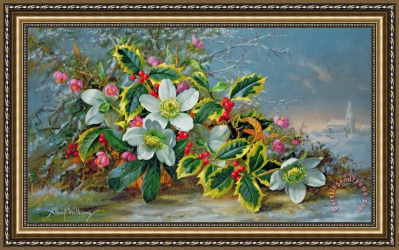 Albert Williams Winter Roses In A Landscape Framed Print