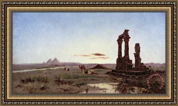 Alexandre Gabriel Decamps A Bedouin Encampment by a Ruined Temple Framed Painting