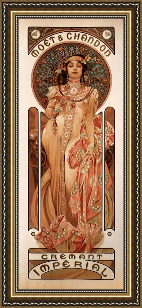 Alphonse Maria Mucha Moët & Chandon Cremant Imperial Framed Painting