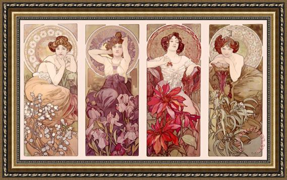 Alphonse Marie Mucha Precious Stones And Flowers Framed Painting