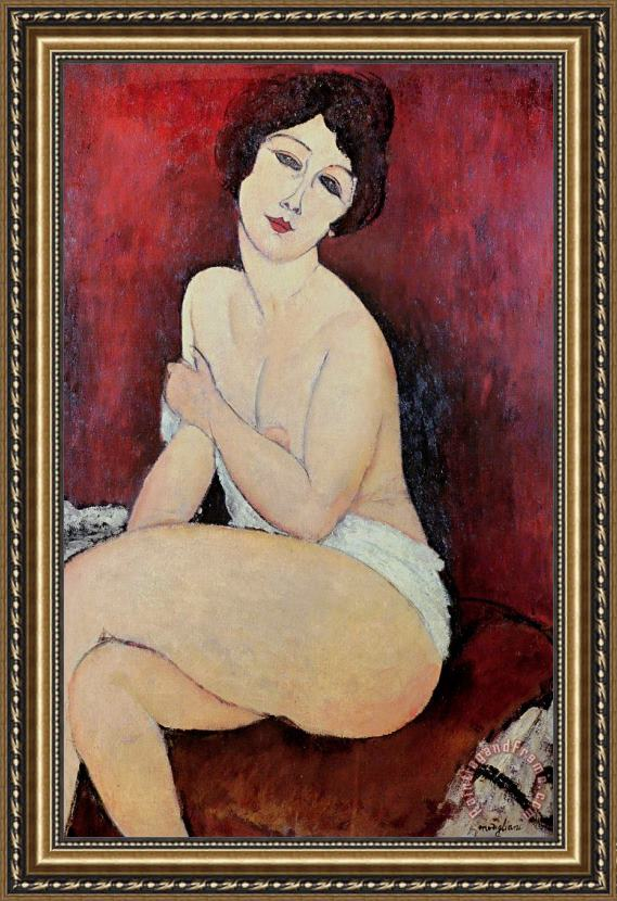 Amedeo Modigliani Large Seated Nude Framed Painting