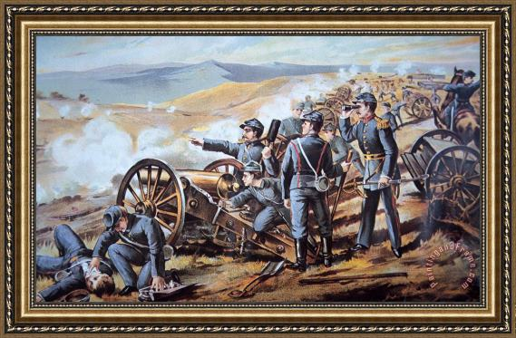 American School Federal field artillery in action during the American Civil War Framed Print