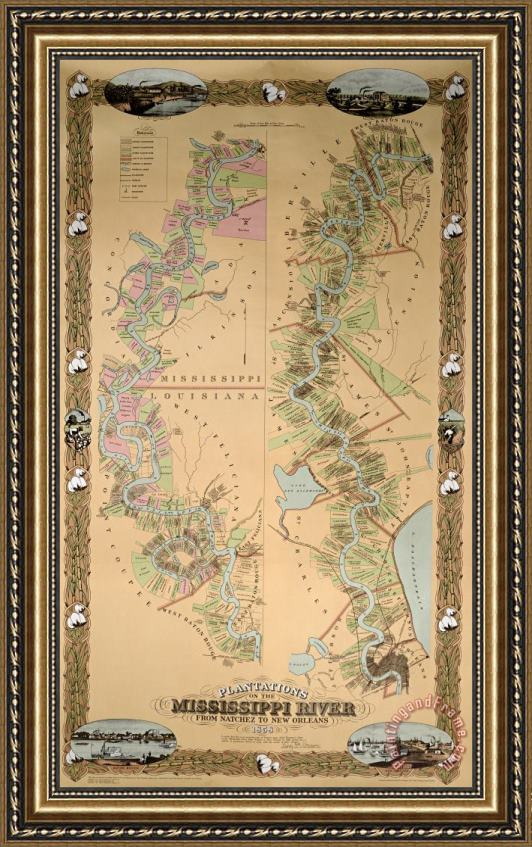 American School Map depicting plantations on the Mississippi River from Natchez to New Orleans Framed Print