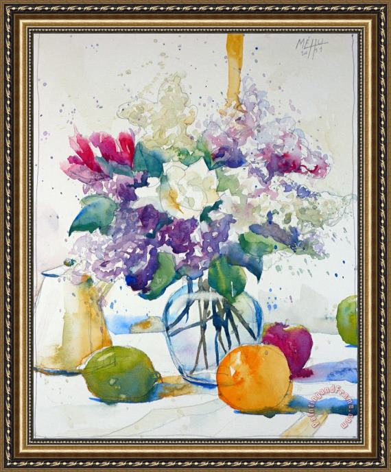 Andre Mehu Sketch with lilac and freesia Framed Print