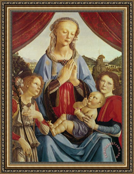 Andrea del Verrocchio The Virgin and Child with Two Angels Framed Painting