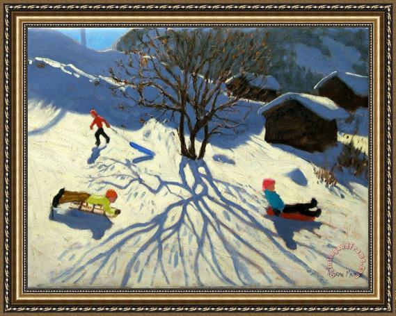 Andrew Macara Winter hillside Morzine France Framed Painting