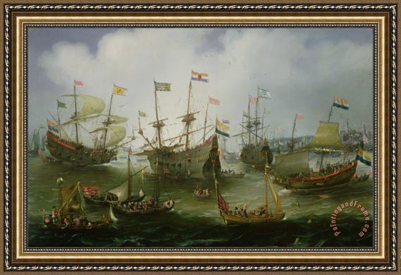 Andries van Eertvelt The Return to Amsterdam of the Second Expedition to the East Indies Framed Painting