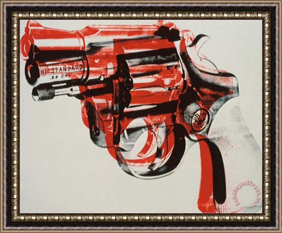 Andy Warhol Gun C 1981 82 Black And Red on White Framed Print
