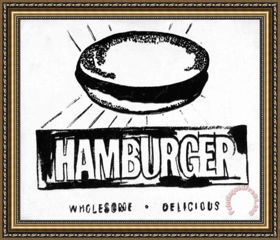 Andy Warhol Hamburger W&b Framed Painting