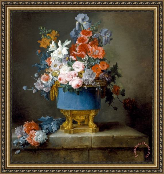 Anne Vallayer-Coster Bouquet of Flowers in a Blue Porcelain Vase Framed Print
