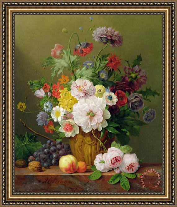 Anthony Obermann Still Life With Flowers And Fruit Framed Print