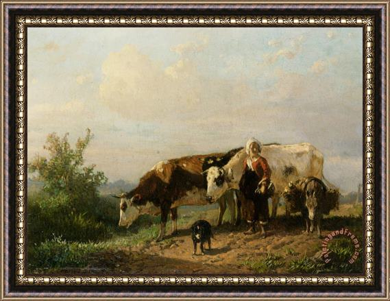 Anton Mauve The Cowherdess Framed Print