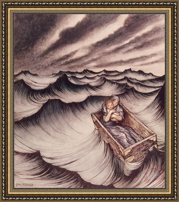 Arthur Rackham Danae and her son Perseus put in a chest and cast into the sea Framed Print