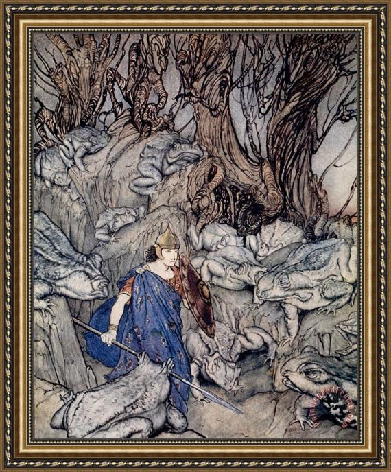 Arthur Rackham In The Forked Glen Into Which He Slipped At Night-fall He Was Surrounded By Giant Toads Framed Print