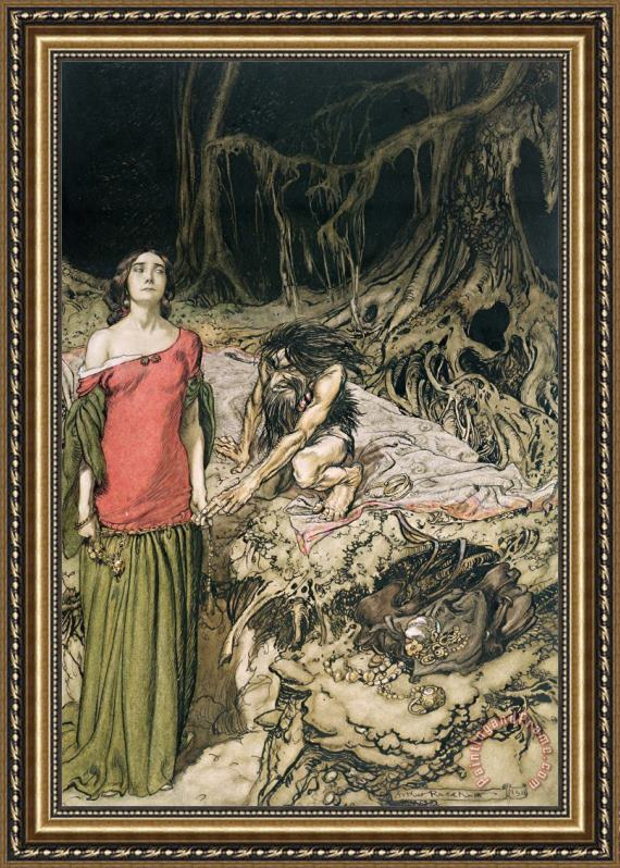 Arthur Rackham The Wooing Of Grimhilde The Mother Of Hagen From 'siegfried And The Twilight Of The Gods Framed Painting