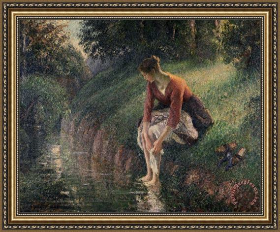 Camille Pissarro Young Woman Bathing Her Feet In A Brook Framed Painting