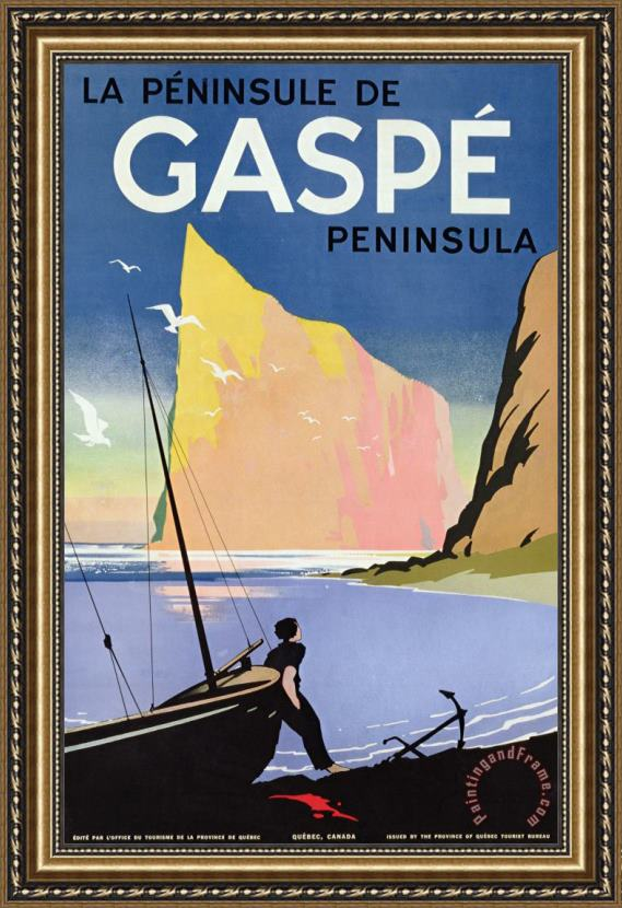 Canadian School Poster Advertising The Gaspe Peninsula Quebec Canada Framed Painting