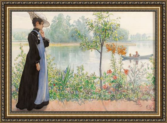 Carl Larsson Karin by The Shore Framed Painting