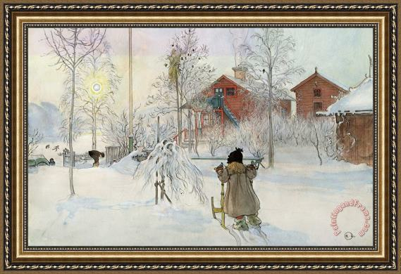 Carl Larsson The Yard And Wash House Framed Painting