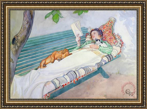 Carl Larsson Woman Lying on a Bench Framed Painting