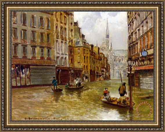 Carlo Brancaccio Street in Paris During Flood of 1910 Framed Print