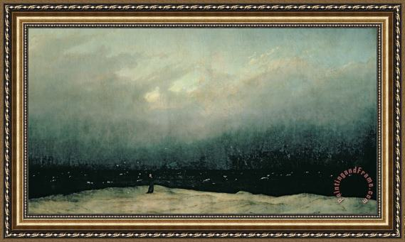 Caspar David Friedrich Monk by sea Framed Print