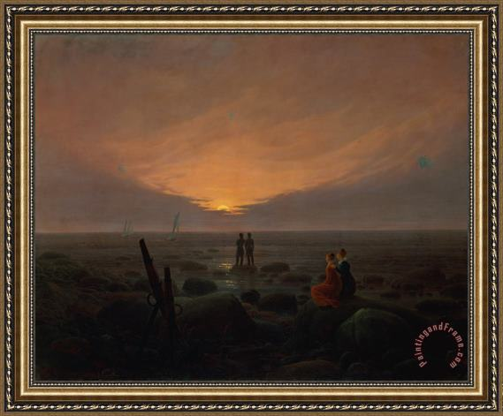 Caspar David Friedrich Moon Rising Over the Sea Framed Print
