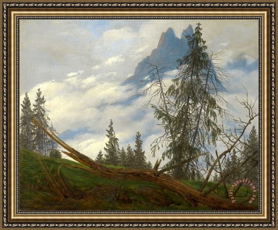 Caspar David Friedrich Mountain Peak with Drifting Clouds Framed Print
