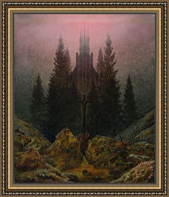 Caspar David Friedrich The Cross in The Mountains Framed Print
