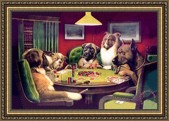 Framed Picture Of Dogs Playing Poker