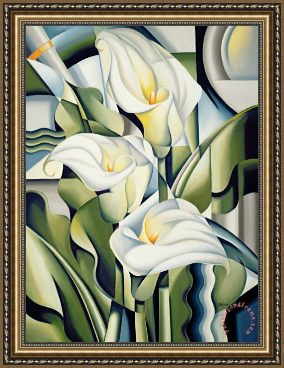 Catherine Abel Cubist lilies Framed Painting