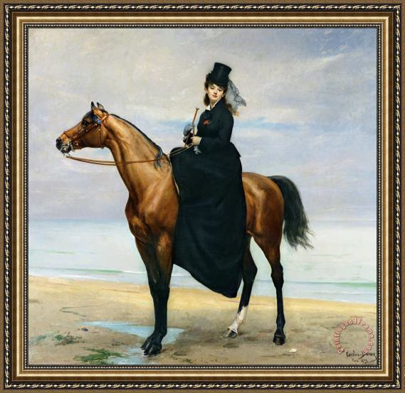 Charles Emile Auguste Carolus Duran Equestrian Portrait of Mademoiselle Croizette Framed Print