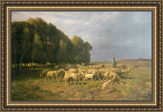 Charles Emile Jacque Flock of Sheep in a Landscape Framed Painting