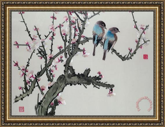 Chinese School Pair of birds on a cherry branch Framed Print