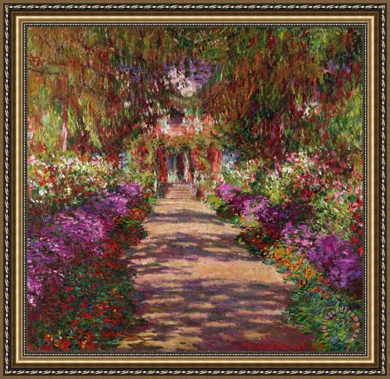 Claude Monet A Pathway in Monets Garden Giverny Framed Print