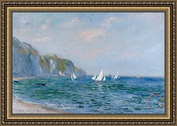 Claude Monet Cliffs and Sailboats at Pourville Framed Print