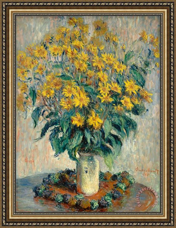 Claude Monet Jerusalem Artichoke Flowers Framed Painting